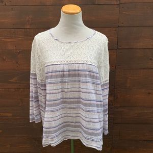 Anthropologie Fig & Flower Lace Striped Top